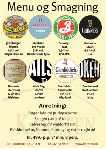 Ølsmagning Amager, København, menu og smagning plakat